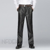 large size fashion EU US men's chick fleece PU leather pant trousers