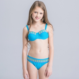 colorful-dashed hem girl swimwear girl bikini