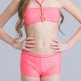 fashion wrapped chest teen girl  swimwear two piece set