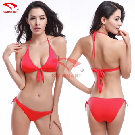 simple cheap women red color bikini swimwear