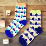 2015 pure cotton small house print knitted women socks