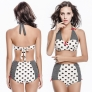 vintage big dot print women two-piece swimwear swimsuit