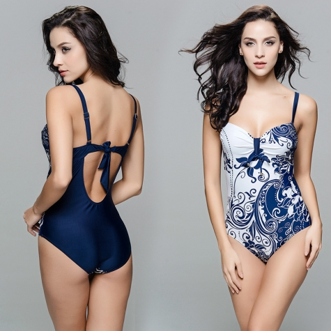 vintage slim fit women one-piece swimwear swimsuit