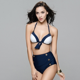 fashion separating button spring spa two-piece women swimwear swimsuit