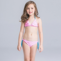cute dot halter girl swimwear