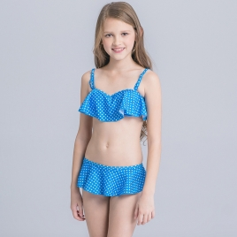 white dot print blue girl swimwear