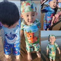 cartoon animal tiger shark giraffe Hippocampus boy swimsuit swimwear