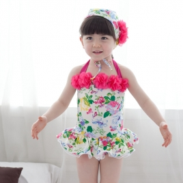 Asian Design lovely floral little girl swimwear