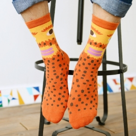 spring autumn orange face pattern cotton socks for men and women