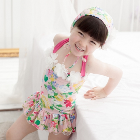 cute floral printing kid swimwear