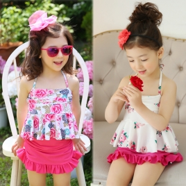 cute halter floral little girl kid swimwear