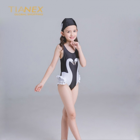 lovely one piece swan girl swimwear