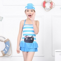 cute kitty head printing little girl swimwear swimsuit