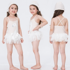 fashion cute swan pattern girl swimwear with hat