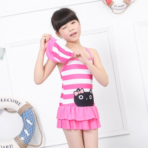 cartoon cat  head printing children swimwear swimsuit