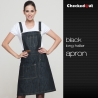 black halter denim apron