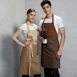 fashion long halter patchwork restaurant coffee shop staff apron