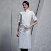 unisex white apron1/2 length restaurant bread shop baker  chef apron