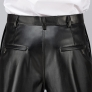 high quality PU faux leather fabric mid-age men's straight-leg pant