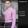long sleeve pink shirt for menfashion stripes design short  long sleeve waiter shirt blouse