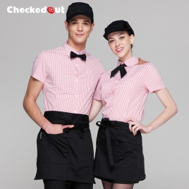 summer short sleeve grid fast food waiter shirts cafe lounge uniforms