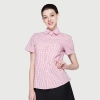 women pink grid shirtssummer short sleeve grid fast food waiter shirts cafe lounge uniforms