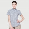 women black grid shirtsummer short sleeve grid fast food waiter shirts cafe lounge uniforms