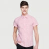 men pink grid shirtssummer short sleeve grid fast food waiter shirts cafe lounge uniforms