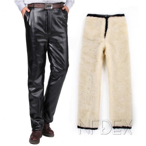 ultra thick PU thicken artificial fur men's pant trousers for winter