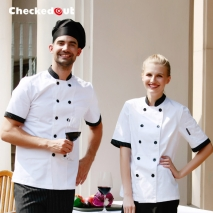 high quality stripes print collar short sleeve chef jacket