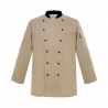 unisex beige (black collar) coat