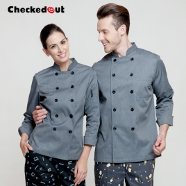 double breasted design grey color chef coat jacket