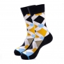 2015 new design casual cotton lengthen printing men's high socks