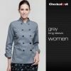 women chef jacketdouble breasted design grey color chef coat jacket