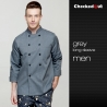 men chef jacketdouble breasted design grey color chef coat jacket