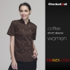 short sleeve coffee womenshort / long sleeve solid color chef uniform work wear both for women or men