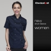 short sleeve navy womenlong sleeve solid color chef uniform both for women or men