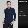 long sleeve navy womenlong sleeve solid color chef uniform both for women or men