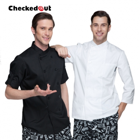 simple classic fashion design double breasted chef coat for restaurant