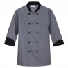 grey chef coatunisex contrast color chef workswear coat uniform Dessert shop