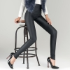 matt blackwinter fashion fleece lining Artificial leather pant jeans  legging