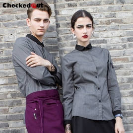 contrast collar autumn design shirt for men or women waiter