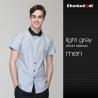 short sleeve light grey men shirtfashion grey contrast collar  restaurant dealer shirt  uniform