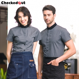 fashion grey contrast collar  restaurant dealer shirt  uniform
