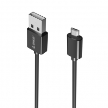 USB2.0 Max Power Micro B 3.3 Ft Round USB Cable-BK (ADC-10)