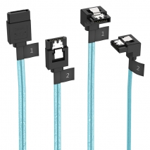 2 Pack SATA III Cable with Locking Latch, 6 Gbps, 1.6Ft / 0.5M & 1.8Ft / 0.55M