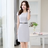 grey dressAsian design thin summer formal office dress for work