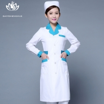 pedal collar long sleeve medical care uniform nurse coat drugstore coverall