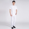 white doctor suitsshort sleeve summer side opening men doctor uniform set