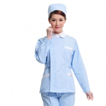 Peter pan collar side opening long sleeve nurse blouse + pant uniform
